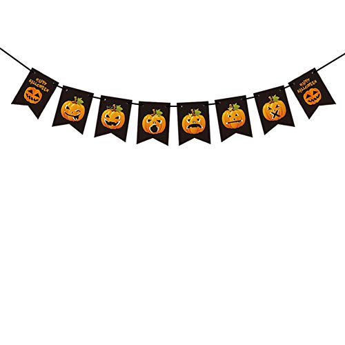 XuBa Colorful Pumpkin Pattern Flag Hanging String Halloween Party Decoration 6 pcs Pumpkin 6 Pieces of Expression Mixed Small Hanging Flag Originality -