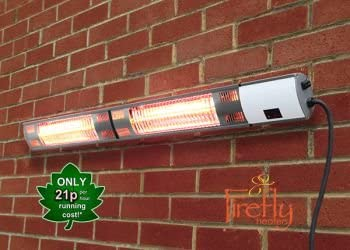 Black Primrose Firefly Dual 3kW IP44 Electric Infrared Halogen Bulb Patio Heater with Weatherproof Remote Control