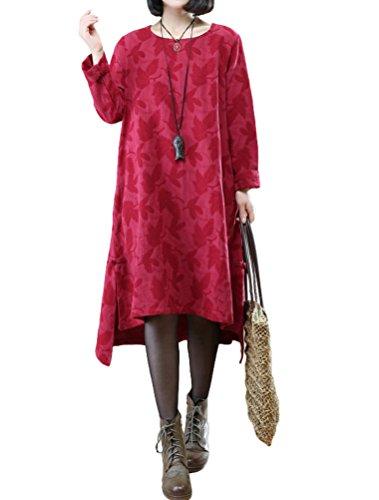Mallimoda Damen Rundhals Neue Jacquard A Line Lange Kleid Stil 1-Rot gJBRDNKj
