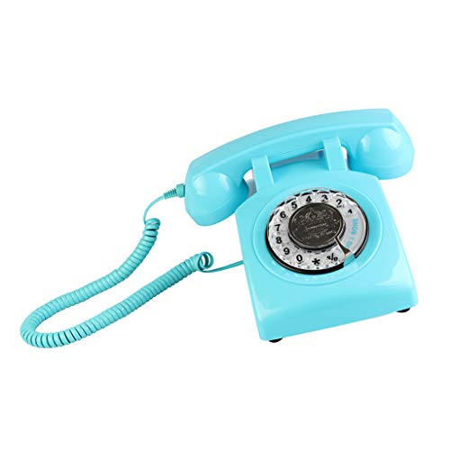 Prettyia Retro Rotary Dial Home Phones, Old Fashioned Classic Corded Telephone Vintage Landline Phone for Home and Office - Blue from Prettyia