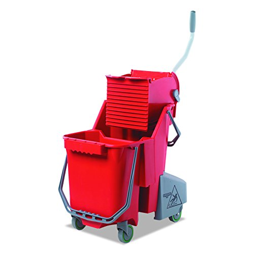 Unger COMBR Side-Press Restroom Mop Dual Bucket Combo, 8gal, Plastic, Red ()