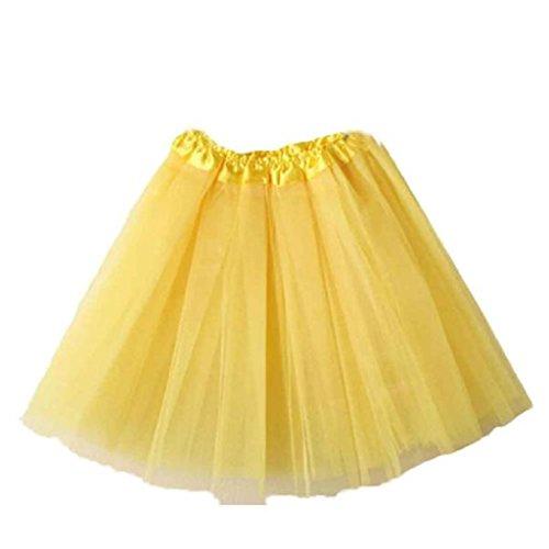 Women's Lace Mini Skirt, Mosunx(TM) Ballet Tutu Layered Organza Skirt (Free, Yellow)
