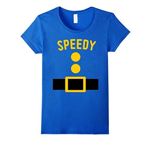 Seven Dwarfs Costume Accessories (Womens Speedy Dwarf Costume T-Shirt Funny Halloween Gift Medium Royal Blue)