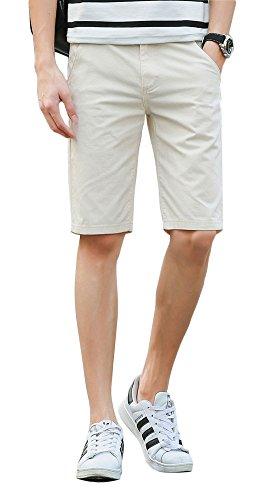 (Plaid&Plain Men's Slim Fit Flat Front Twill Cotton Chino Shorts Beige 28)