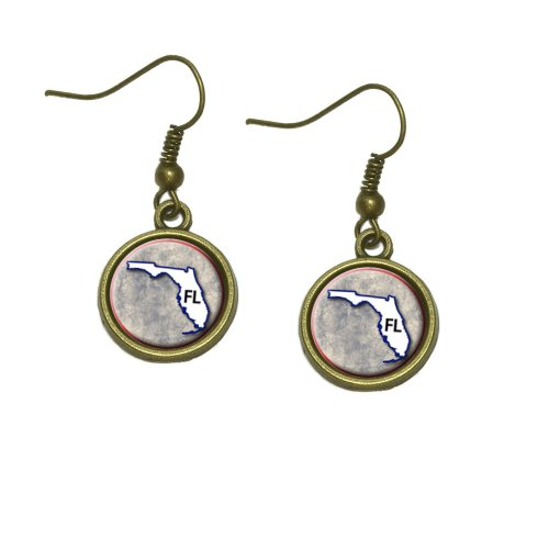 Florida FL State Outline on Faded Blue Dangle Dangling Drop Earrings