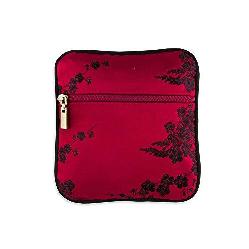 - Coin Pouch - Silk Brocade (Cherry Blsm Red & Black)