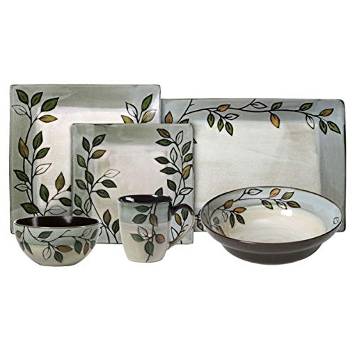 Pfaltzgraff Rustic Leaves Dinnerware Set, Service for 8 with Serveware