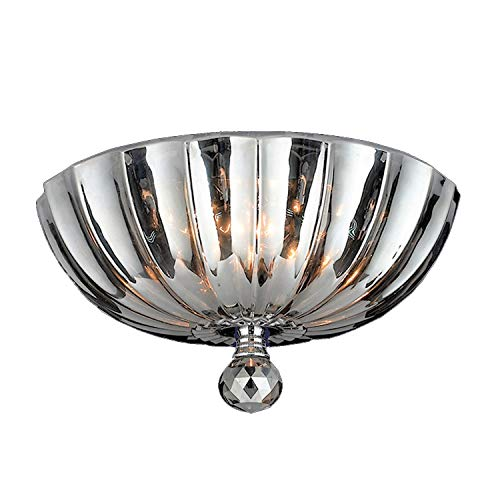 Worldwide Lighting Mansfield Collection 3 Light Chrome Finish and Smoke Crystal Bowl Flush Mount Ceiling Light 12