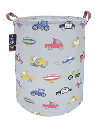 HKEC 19.7'' Waterproof Foldable Storage Bin, Dirty Clothes Laundry Basket, Canvas Organizer Basket for Laundry Hamper, Toy Bins, Gift Baskets, Bedroom, Clothes, Baby Hamper(Car) (Tall Kids Hamper)