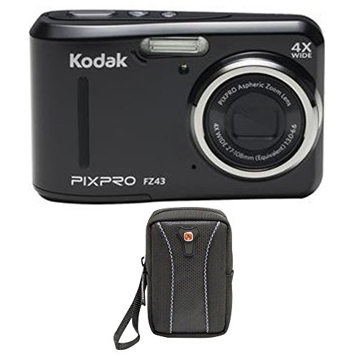 Kodak PIXPRO FZ43 16 MP Digital Camera, 4X Optical Zoom, 2.7'' LCD (Black) Bundle by Kodak