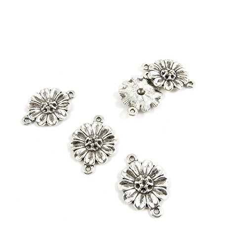 (Price per Lot 20 PCS Jewelry Making Charms Antique Silver Tone Color Jewellery Charme Findingss Bulk Wholesale Suppliers Arts Crafts L4TU0 Sunflower Connector)