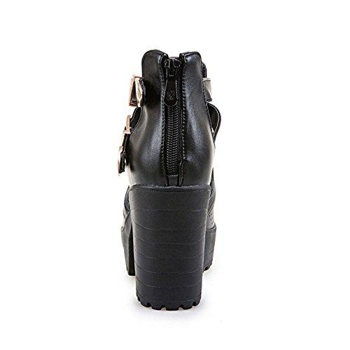 Mode strap Talon Sandales Toes Femmes Coolcept Les Bloc Zip T Noir Chaussures Peep Avec n6XqwA