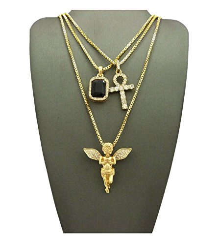 MENS ICED OUT ANKH CROSS RED RUBY BLACK BLUE GREEN STONE ANGEL BOX CHAIN 3 NECKLACE SET (Black) (Gold Red Chain)