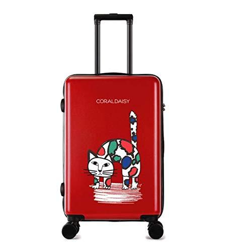 ファッショントロリーケースユニバーサルホイール漫画スーツケースかわいいプリントギフトスーツケース (Color : Red, Size : L) B07MQRVL4Q