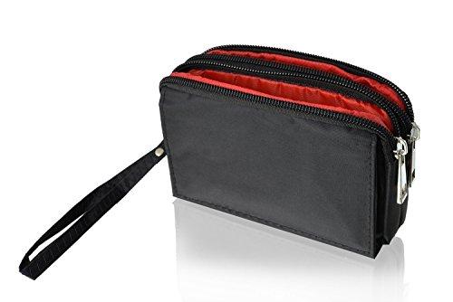 """Doppel-Reissverschluss Portemonnaie Handytasche schwarz geeignet für """"Archos Diamond 2 Plus"""" Handy Schutz 2 in 1 Softcase inkl. Gürtelschlaufe / Handgelenkschlaufe - Hülle Case Etui Wallet Tasche"""