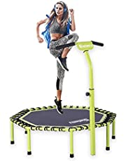 Gielmiy fitness trambolini, 121 cm sessiz Mini Fitness Trambolini Ayarlanabilir Gidon Fitness Trambolini Bungee Rebounder Zıplama, Yetişkinler İç/Dış Mekan Egzersizleri için trambolin - Maksimum Limit 149 kg