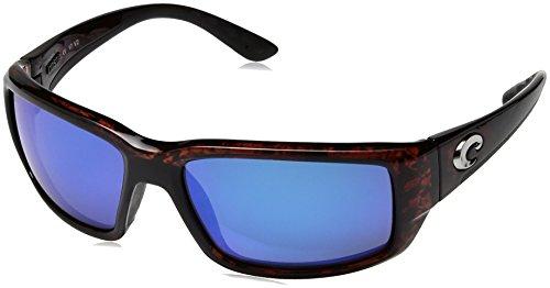 (Costa del Mar Men's Fantail Polarized Iridium Rectangular Sunglasses, Tortoise Frame Blue Mirror Glass-W580, 58.9 mm)