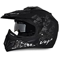 Vega Off Road OR-D/V-SKT-DKS_M Sketch Full Face Graphic Helmet (Dull Black and Silver, M)