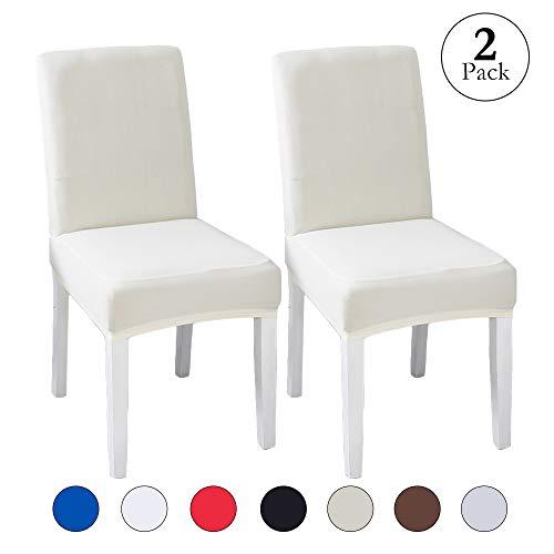 Stretch Velvet Slipcover - LINENLUX Velvet Spandex Fabric Stretch Dining Room Chair Slipcovers Home Decor (2 Pack, B-Creamy White)