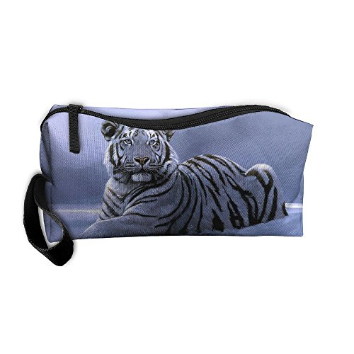 Snow Tiger Cosmetic Bags Brush Pouch Makeup Bag Zipper Wallet Hangbag Pen Organizer Carry Case Wristlet Holder -