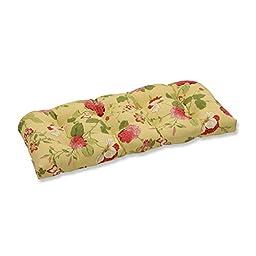 Pillow Perfect Indoor/Outdoor Risa Wicker Loveseat Cushion, Lemonade