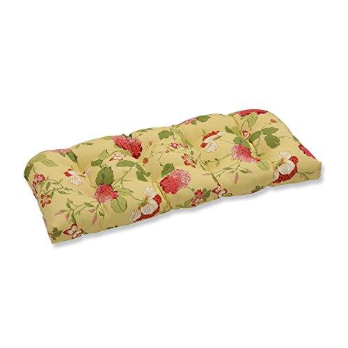 Pillow Perfect Outdoor Risa Wicker Loveseat Cushion, Lemonade ()