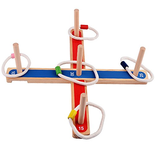 Sugoiti Ring Toss Game Set - Wooden Quoits for Kids Adults Indoor or Outdoor Games with Rope Rings