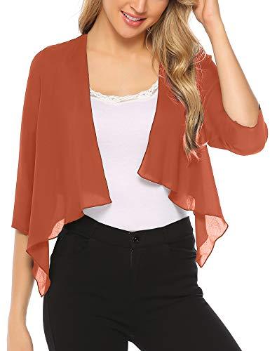 Abollria 3/4 Sleeve Sheer Chiffon Bolero Shrug Jacket Cardigan Orange