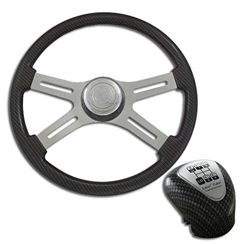 18 Inch Chrome 4 Spoke Gray Carbon Fiber Steering Wheel & Shift Knob Kit (Carbon Fiber Spokes)