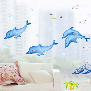 Let'S Diy Cute Dolphin Removable Mural Wall Stickers Decals Vinyl Nursery Kids Room Decor (Cute Halloween Wallpaper Iphone)