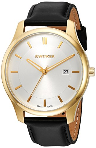 Wenger-Mens-City-Classic-Swiss-Quartz-Gold-Tone-and-Leather-Casual-Watch-ColorBlack-Model-011441106