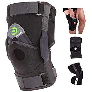 DISUPPO Hinged Knee Brace Support Women Men, Adjustable Open Patella Stabilizer for Sports Trauma, Sprains, Arthritis, ACL, Meniscus Tears, Ligament Injuries (Black, Large)
