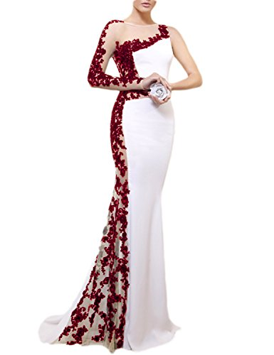 OYISHA Womens Long Sexy Mermaid Wedding Dress Formal Evening Party Gowns EV117 Burgundy 6 by OYISHA