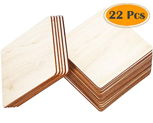 Selizo 22Pcs 4 Inch Unfinished Blank Wood Pieces Wooden Slices Unfinished Wood Cutouts for Wood Burning Carbon Transfer Paper Project Wood Painting Carving -