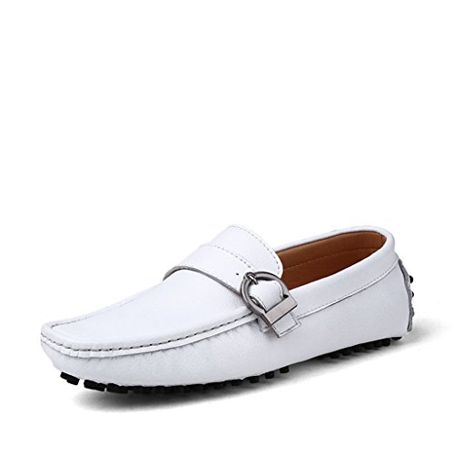 Yuanli Mens Casual Mocassini In Pelle Scamosciata Guida Slip On Mocassini Bianchi
