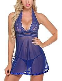 Avidlove Women Lingerie Halter Babydoll Lace Chemise Teddy V neck Nightwear
