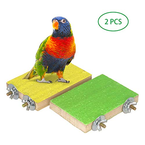 (MICOO Bird Wood Perch Toys, 2 PCS Rough Surface Perch Parrot Toys, for Small Animals (Random Color))