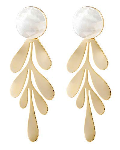 tement Earrings for Women Shell Fashion Hanging Bridal Chandelier Drop Earrings for Wedding White ()