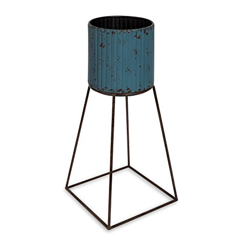 (Kate and Laurel Holmes Large Rustic Metal Planter with Frame Stand, Turquoise Blue)
