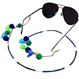 Ababalaya Vintage Strap Anti-Skid Eyeglass Cord Metal Sunglasses Thin Chain (206Blue)