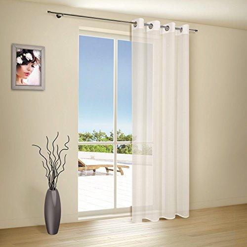Vorhangschal / Gardine / Vorhang / Ösenschal ELLA / B/H: 140x235cm / halbtransparente Qualität / natürlicher Look / moderner Ösenschal 40mm (natur)