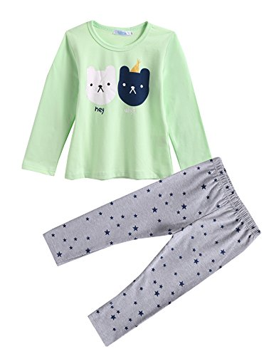 Arshiner Toddle Girls Long Sleeves Cute Bears 2pcs Cotton Bottoming Outfits Top+Leggings Pant - Cute Simple Outfits Christmas