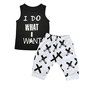 2PCs Baby Boy Girl I DO What I Want Sayings Vest Top Crossing Mark Pants Clothing Set (12-18 Months)