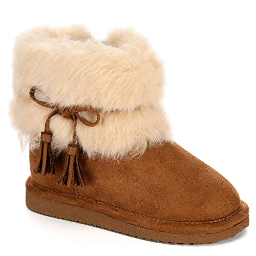 Cupcake Couture Girls Lil Finn Faux Fur Boot Shoes, Tan, US 6 Toddler