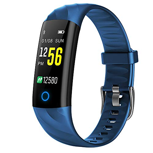 TIAOTIAO Fitness Tracker, IP68Waterproof Activity Tracker with Pedometer Step Counter Watch and Sleep Monitor Calorie Counter Watch, Slim Smart Bracelet for Kids Women Men,Blue (Chip Via Set Ram)
