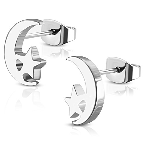 (Stainless Steel Tiny Crescent Moon & Star Stud Post Earrings)