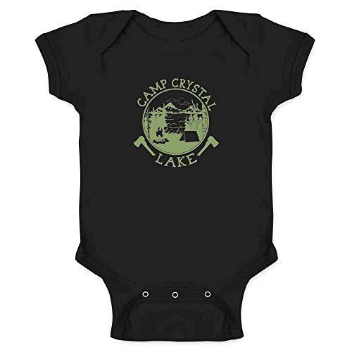 Pop Threads Camp Crystal Lake Counselor Shirt Costume Staff Black 6M Infant Bodysuit -