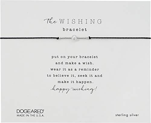(Dogeared Women's The Wishing Bracelet, Freshwater Pearl On Silk with Metal Bead Silver/Black One Size )