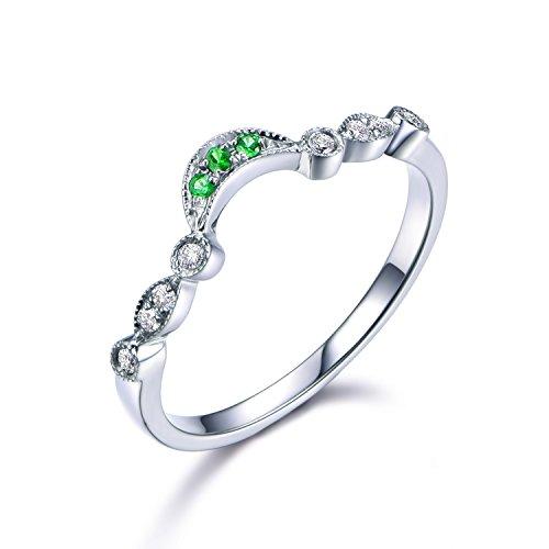 14k White Gold Wedding Band Tsavorite Diamond Milgrain Antique Bridal Stacking Ring Half Eternity