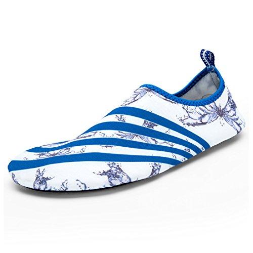 Cool&D Unisex Aquaschuhe Aqua Schuhe Atmungsaktiv Strandschuhe Schwimmschuhe Badeschuhe Wasserschuhe Surfschuhe für Damen Herren Kinder Weiß